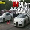 Bugatti Veyron-Nissan Skyline GT-R R34,Hız Yarışını Kim Kazandı Video izle